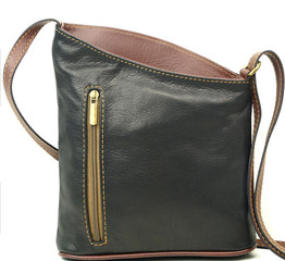 Dámská kožená kabelka Vera Pelle MADE IN ITALY K025 černohnědá