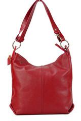 Made in Italy kožená kabelka přes rameno crossbody světle červená