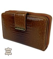 Jennifer Jones peněženka hnědá luxusní z lakované ražené kůže 5198