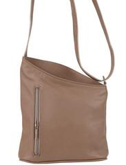 Malá dámská kožená kabelka přes rameno béžová Vera Pelle Made in Italy